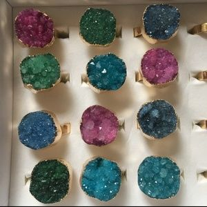 New! 14K Gold Dipped Druzy Crystal Rings